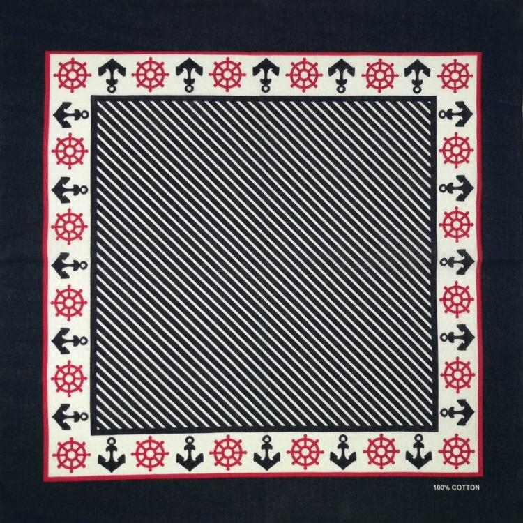100% Baumwolle Rahmen Anker Punk Hip Hop Headwear Tuch Bandanas Foulard Halstuch Platz Schal Für Frauen/männer/jungen/mädchen
