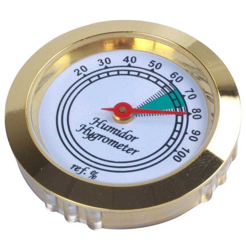Hygromètre rond à cadre doré calibrable 43mm pour boîte à cigares en métal 1 pièce