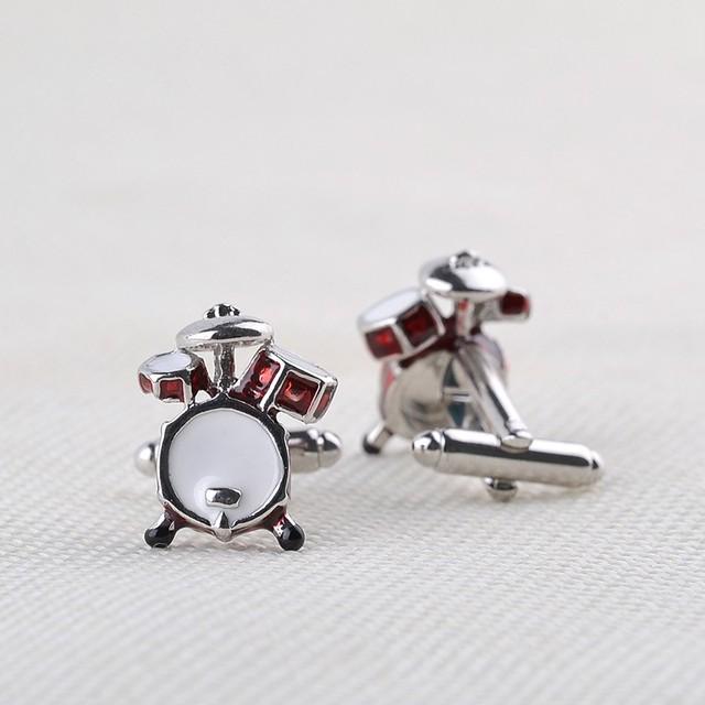 Personality Jewelry Music Drum Guitar Cufflinks Shirt Metal Design Cuff Link