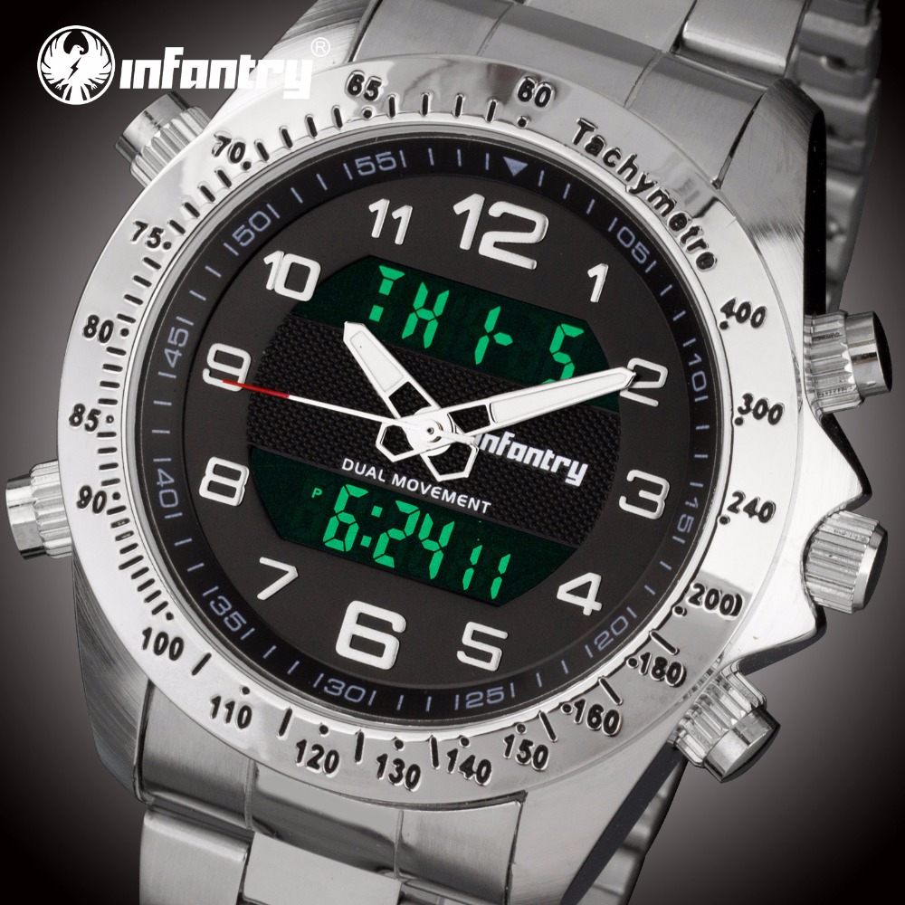 INFANTRY Mænd Sports Watch Auto Dato LED Dual Display Rustfrit Stål - Mænds ure