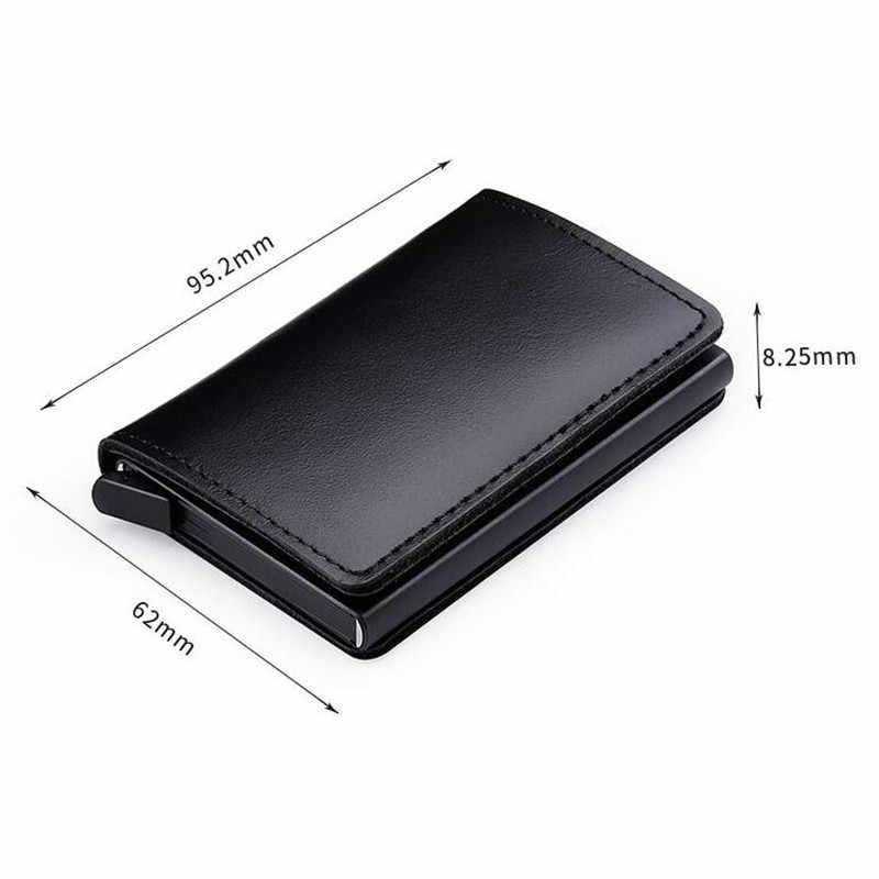 RFID bloqueo 100% de cuero genuino titular de la tarjeta de crédito de Metal de aluminio de negocios tarjetero ID tarjeta Slim caso Mini cartera para hombres