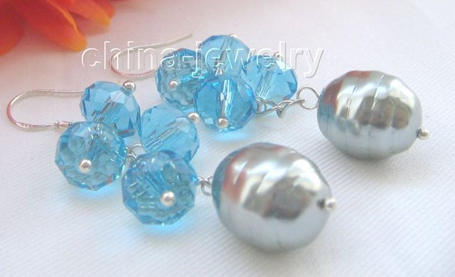 10 - 15 mm cristal azul + gris mar concha de perla pendiente - gancho de plata 925