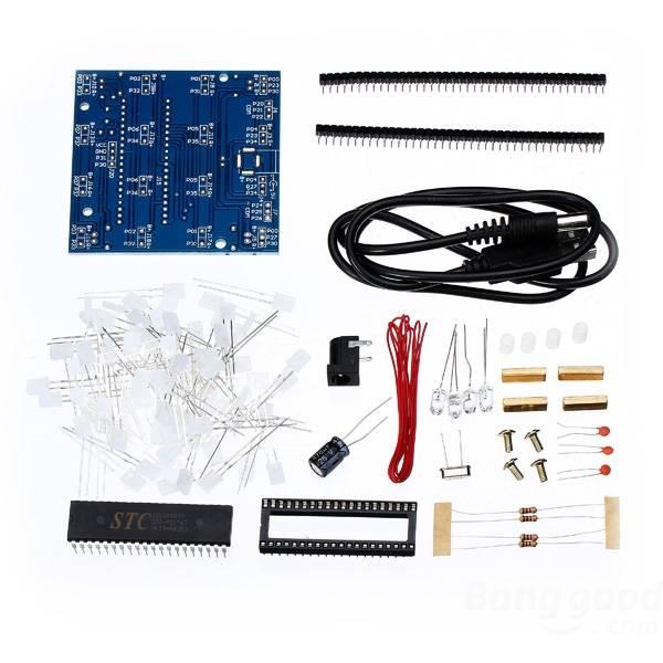 Factory DIY <font><b>4x4x4</b></font> <font><b>LED</b></font> <font><b>Cube</b></font> Blue Red <font><b>LED</b></font> Electronic Learning Kit