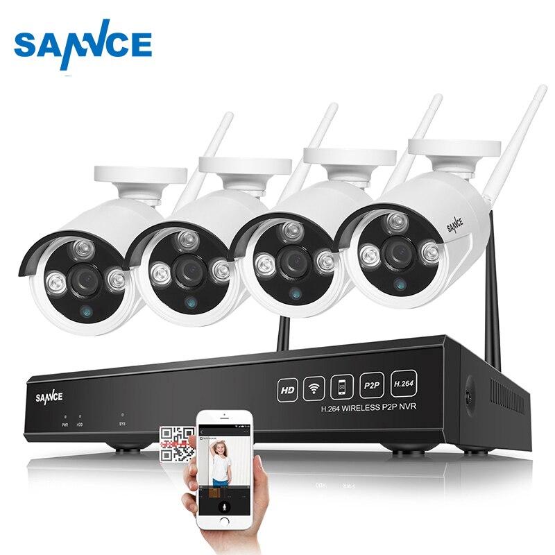 SANNCE 4CH Wireless NVR CCTV System 720P IP Camera WIFI Waterproof IR Night Vison Home Security