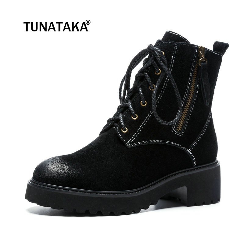 Women Suede Comfort Low Heel Martin Boots Fashion Zipper Ankle Boots Female Lace Up Fall Winter Round Toe Shoes Black 2019 white women ankle boots lace rabbit fur cuff beadings lolita sweet low heel winter fall shoes lady student female boots