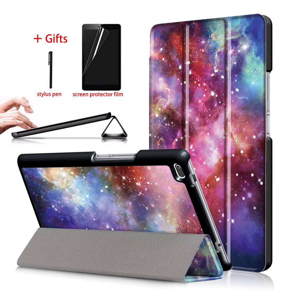 Trifold Pill Case For Lenovo Tab four eight Pu Leather-based Stand Cowl For Lenovo Tab four eight Tb-8504F Tb-8504N Tb-8504X Case + Movie + Pen