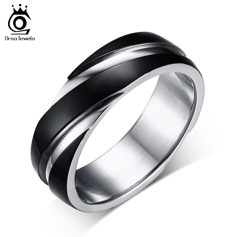 ORSA JEWELS 2018 New Fashion Daily Wear Rings Top Quality Lead & Nickel Free Black Color Stainless Steel Men Party Rings OTR60