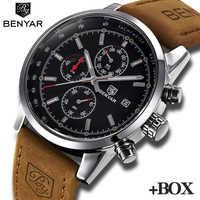 Relojes BENYAR de lujo de marca para Hombre, Reloj cronógrafo de acero inoxidable, Reloj de pulsera de cuarzo de negocios informal resistente al agua para Hombre