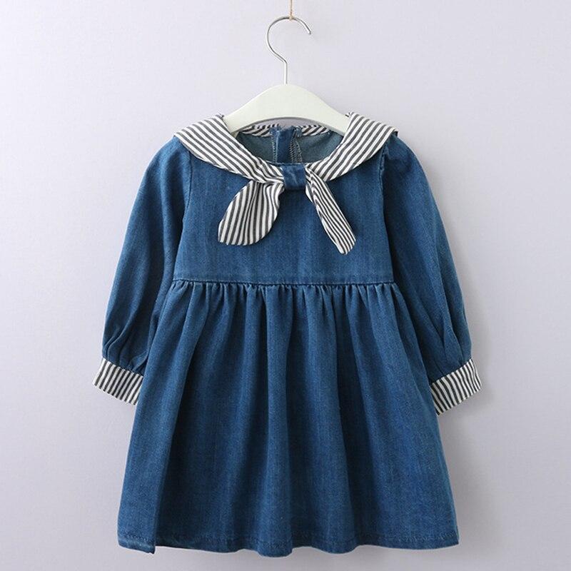 Niñas vestido 2018 nuevo estilo de otoño niños ropa de primavera ropa de manga larga Casual Niñas Ropa niños vestido de barcos de impresión de ropa