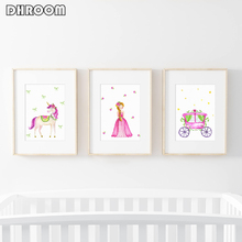 Watercolor Princess Themed Nursery Wall Art Pink Unicorn Canvas Prints Poster Painting Toddler Girl Gift Decorative Picture