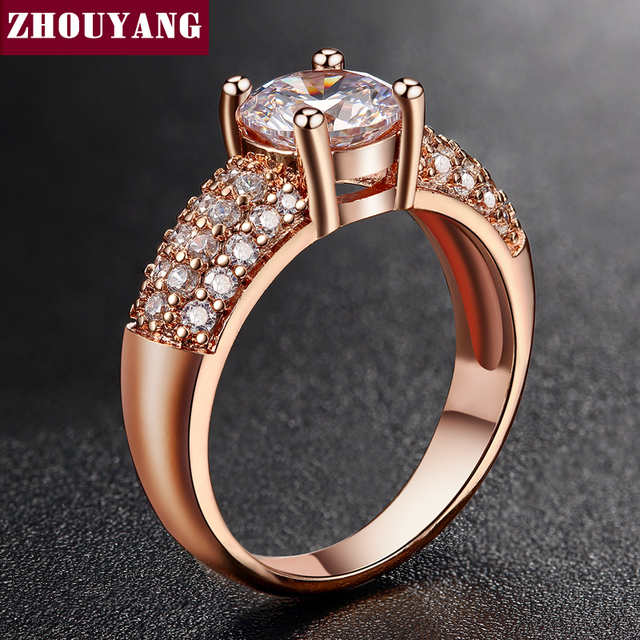 Micropave Setting 7mm 4 claws 1.5ct AAA+ CZ Wedding Ring Rose Gold Color Luxury