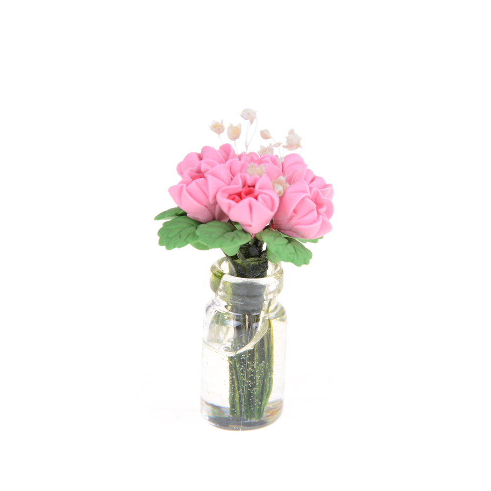 Miniature rose flower 1/12 Dollhouse Home Decoration Miniature Pink Clay Rose Flower with Vase Fairy Garden Accessories