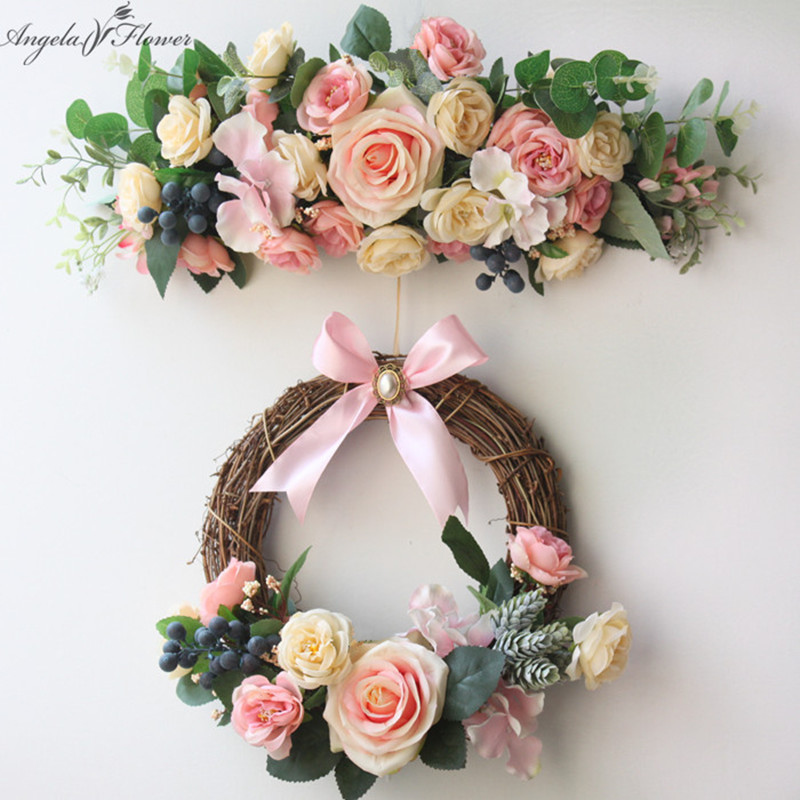 Us 23 12 32 Off Simulation Diy Artificial Flower Garland Wreath Set Door Home Wedding Party Garden Decor Threshold Fake Flowers In