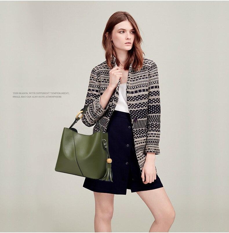 Bags Handbags Women S Genuine Leather Bucket Bag Luxury Handbags Designer Contracted Tassel Women Bag