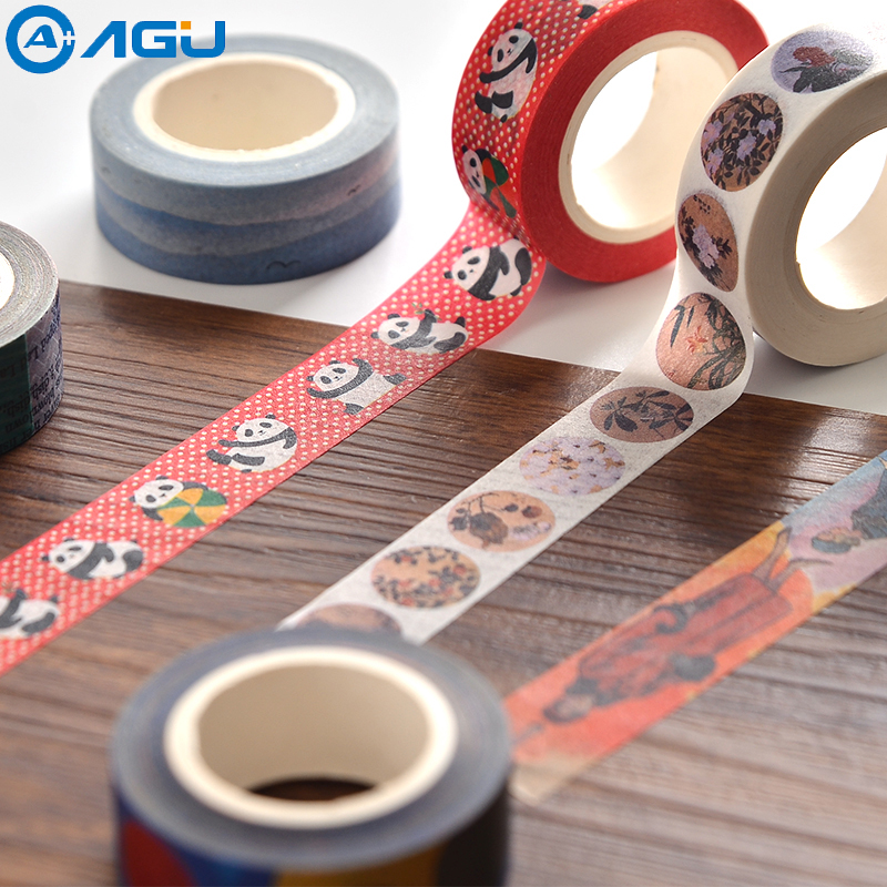 AAGU 15mm*10m Box package Custom Washi Tape Scrapbooking Flamingo Decorative Adhesive Paper Tape Masking Tape For Decoration packaging and labeling