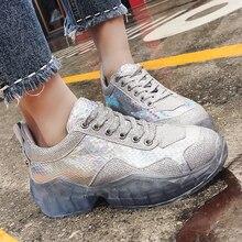 2019 Female Sneakers Silver Pink Glitter Women Platform Shoes Woman Vulcanize Footwear tenis feminino