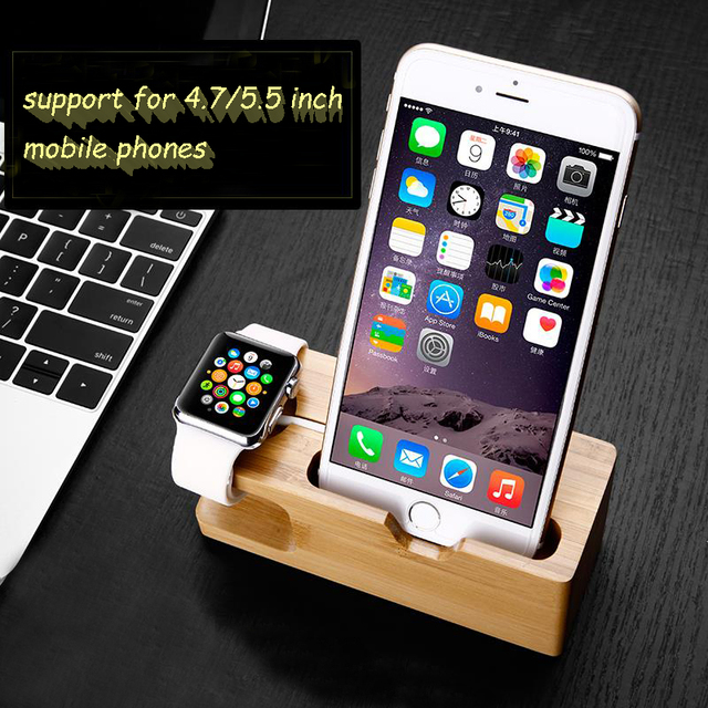 Bamboo Wood Charger Station For Le Watch Charging Dock Stand Holder Iphone 5s 6 Cradle