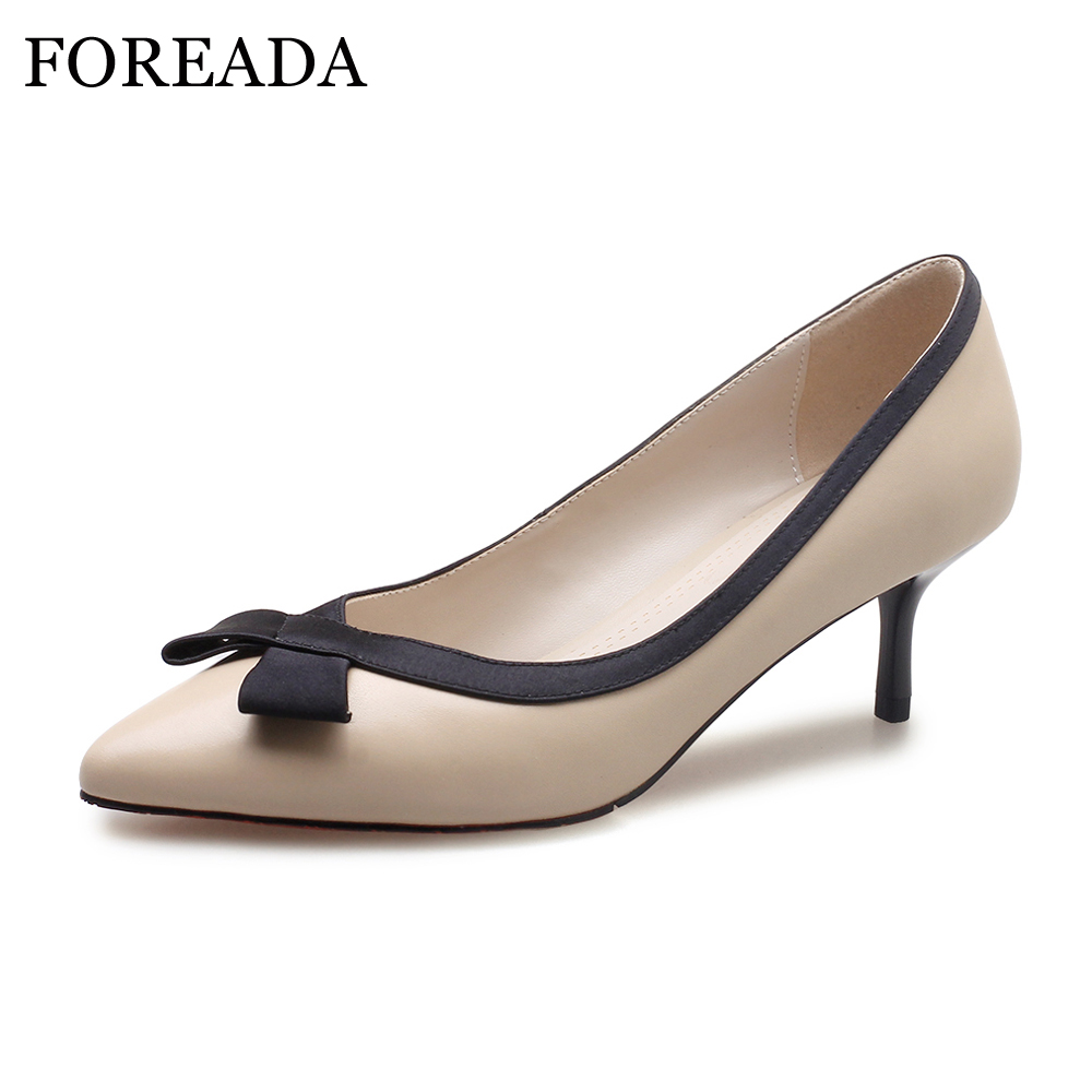 FOREADA Women Shoes Pumps Genuine Leather Thin High Heels Elegant Ladies Office Shoes 2018 Bow-knot Pointed Toe Shoes Female camel shoes ladies sweet bow sheepskin shoes elegant ladies increased within shoes soft surface a93194626