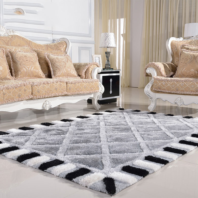 Modern Minimalist Living Room Carpet Thickened Bedroom Rug Continental Black And White Checkered Sofa Rugs