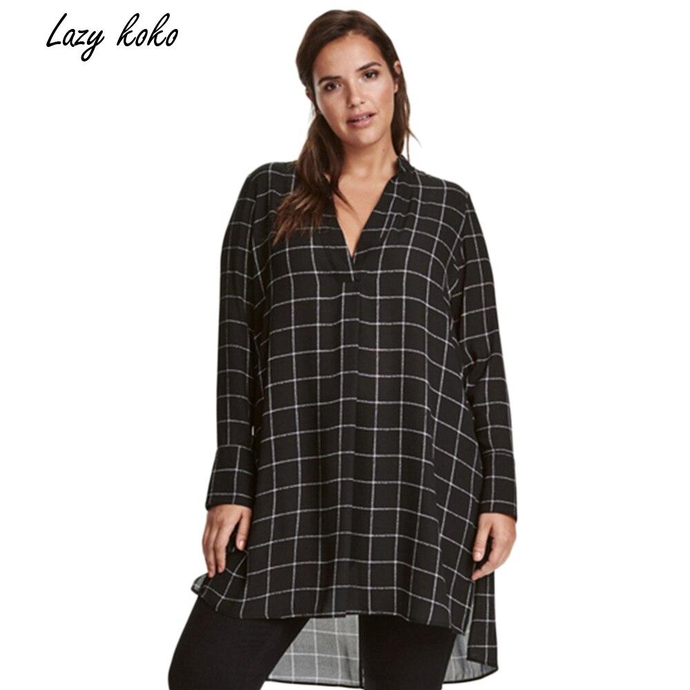 Lazy KoKo Big Size New Fashion Women Clothing Casual Basic Dress V Neck Long Sleeve Shirt