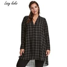 Lazy KoKo Big Size New Fashion Women Clothing  Casual Basic Dress V-Neck Long Sleeve Shirt Dress Plus Size Dress 4XL 5XL 6XL 7XL