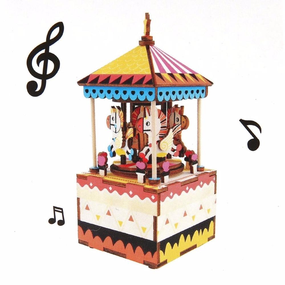 DIY 3D Wooden Puzzle Music Box Carousel Ferris Wheel Clockwork Kids Children Toys Funny Family Board Game Gift Home Craft Decor
