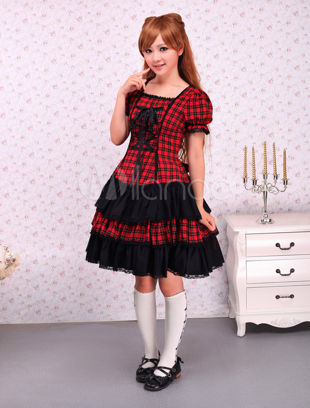 Supercos Store Free shipping! New Arrivals! High quality! Cotton Short Sleeves Black And Red Shepherd Check School Lolita Dress