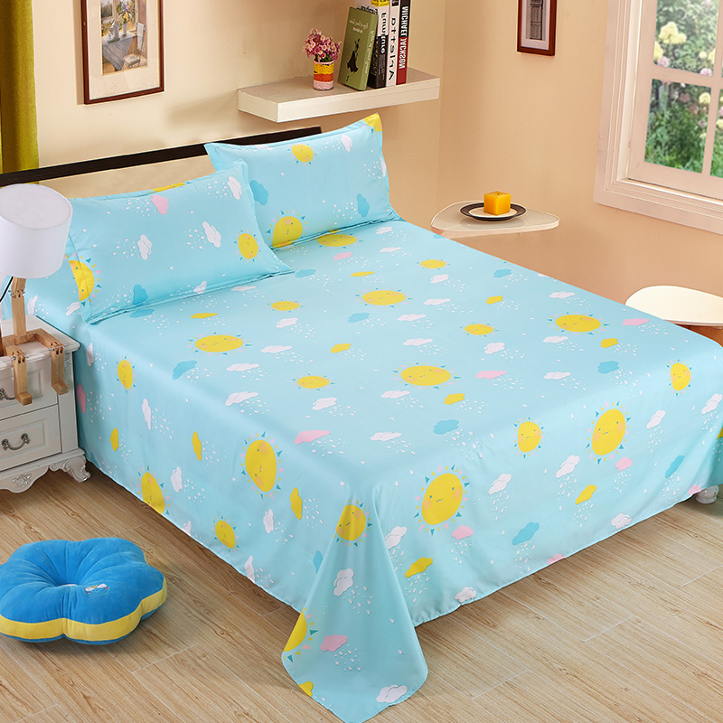 Nordic Home Decor Kids Room Rainbow Flowers Sun Bed Sheets Polyester Students Flat Bedsheet