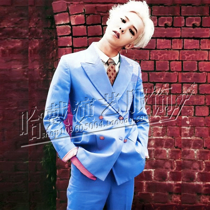 HOT New GD right Zhi-Long nightclub bar suit men's small suit EXO singer stage costumes Blue double-breasted formal dress sets