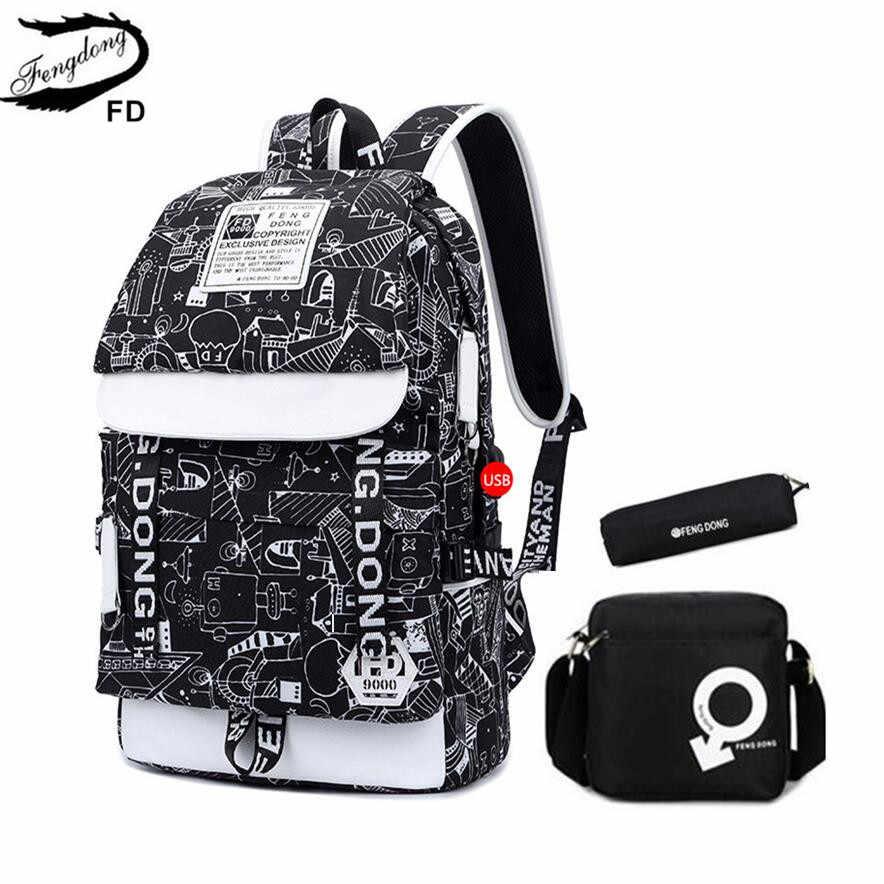 baae18c39f FengDong 3 pcs kids school bag set waterproof school backpack for boy  schoolbag backpack student pen