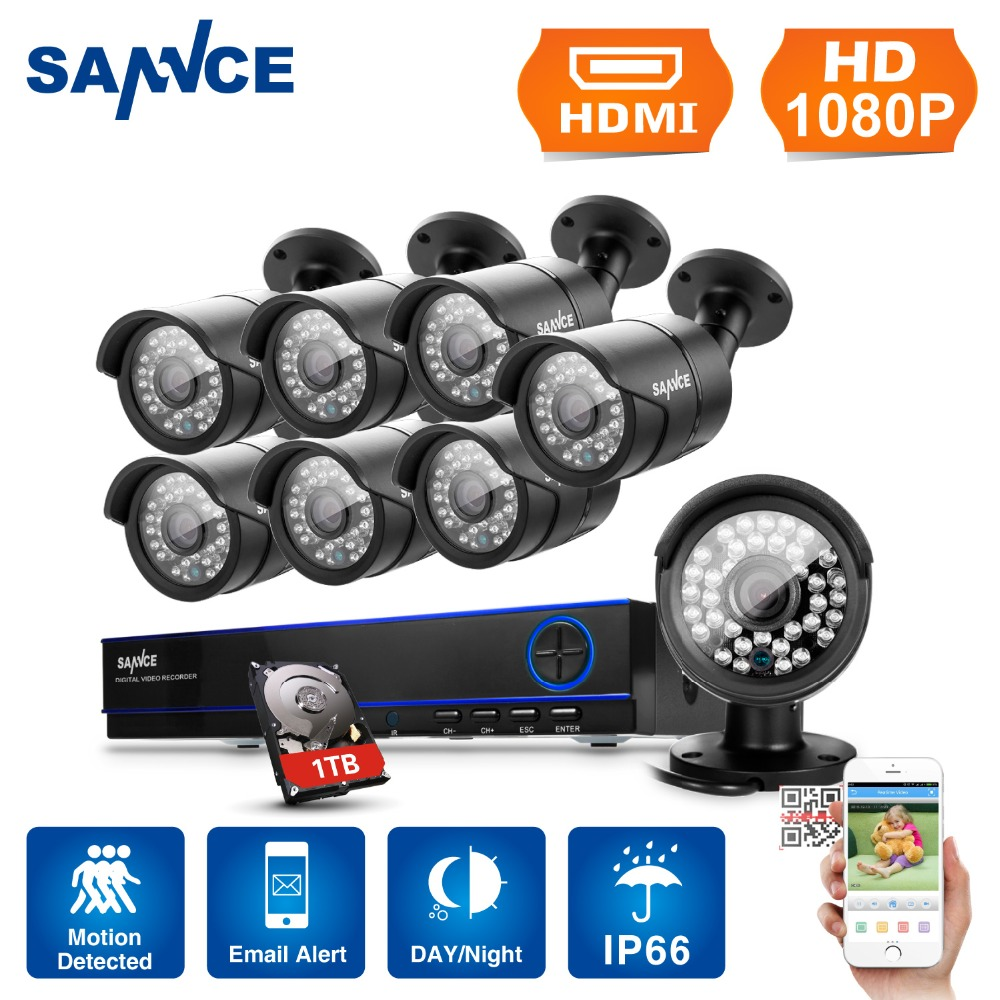SANNCE 8CH 1080P Surveillance Kits AHD DVR 8PCS 3000TVL IR Night Vision Waterproof font b Security