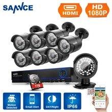 SANNCE 8CH 1080 P Vigilancia Kits AHD DVR 8 UNIDS 3000TVL INFRARROJOS de Visión Nocturna Impermeable Cámara de Vídeo de Seguridad CCTV Sistema 1 TB HDD