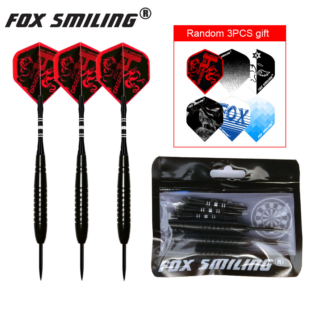 3PCS 23g Professional Steel Tip Darts With Aluminum Shaft Fox Smiling Good Qualtiy Nice Flights Black Barrel Darts Gift