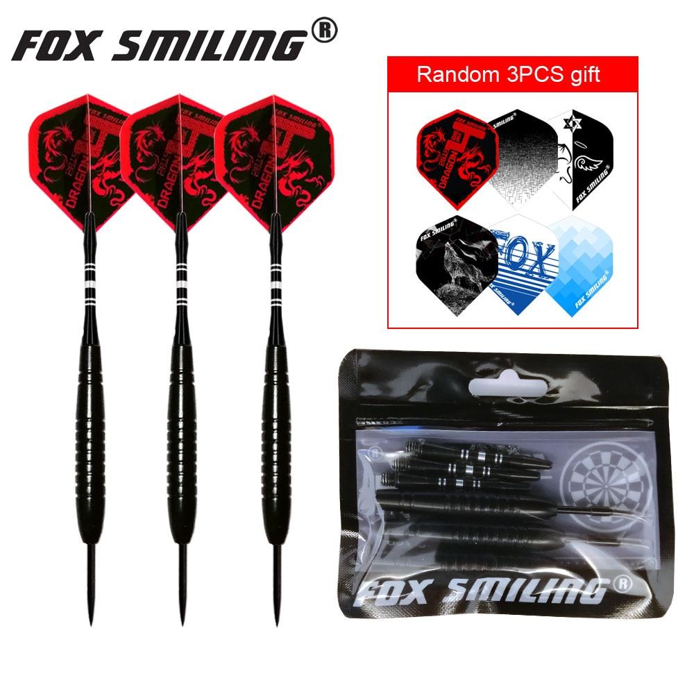 3PCS 23g Professional Steel Tip Darts With Aluminum Shaft Fox Smiling Good Qualtiy Nice Flights Black Barrel Darts Gift(China)