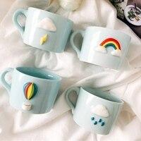 سماء الحب الإبداعية اليابانية الإفطار كوب القهوة السيراميك القدح مصغرة المنزلية rainbow cup