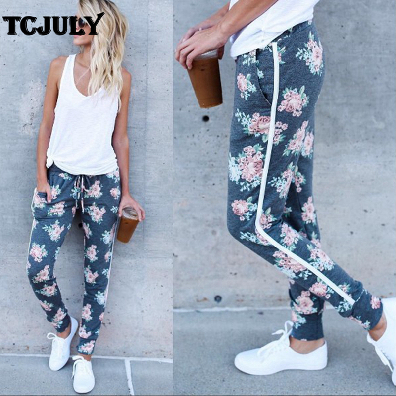 TCJULY New Design Flowers Print Straight Sweatpants Women Side Striped Casual Trousers Streetwear Slim Jogger Pants With Pockets