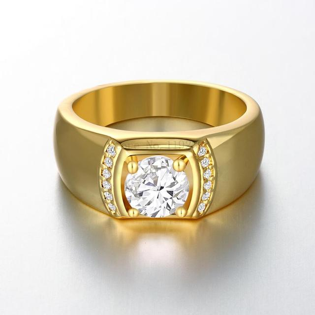 ZR125 A 8 Top Quality 24K Yellow Gold Color Men Crystal Stone Ring