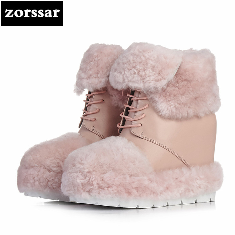 {Zorssar} 2018 New Warm Plush snow Boots Women ankle boots High heels shoes boots autumn winter woman shoes botas mujer invierno