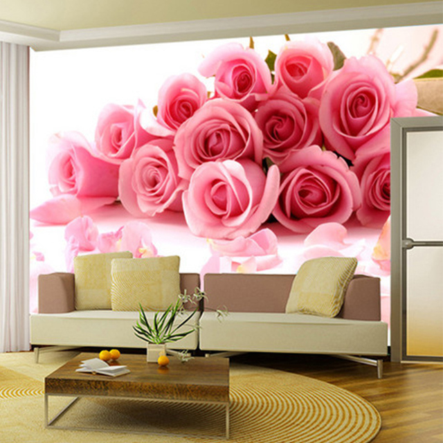 Custom Wallpaper 3D Pink Rose Flowers Photo Wall Mural Living Room ...