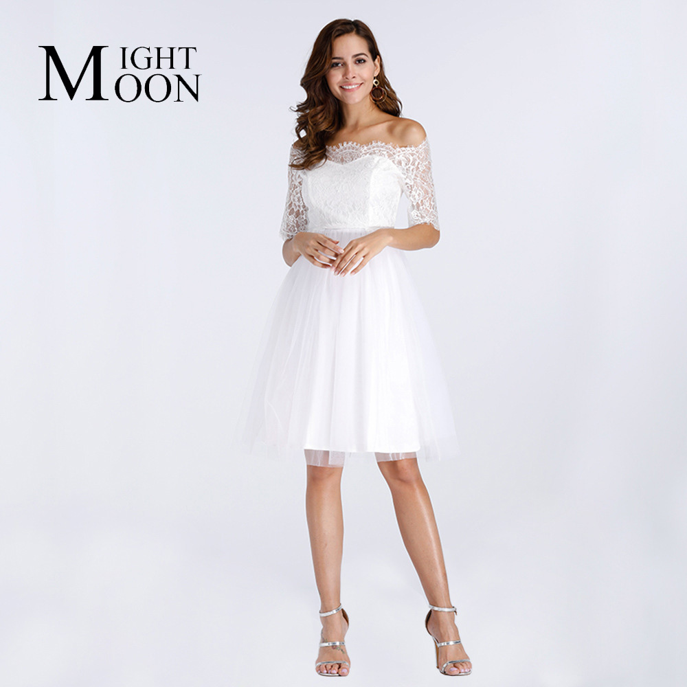 MOONIGHT Casual Knee Length Cute A-Line Dress Women Lace Dresses Sexy Slash Neck Half Sleeve Party Mesh Lace Dress