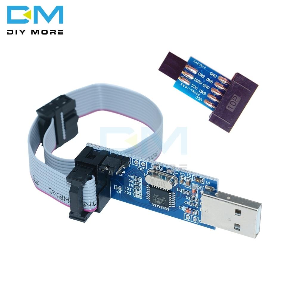 USBASP USBISP AVR Programmer 10Pin To 6 Pin Cable USB ISP USB ASP ATMEGA8 ATMEGA128 ATtiny CAN PWM Support Win7 64K 64 64Bit