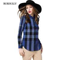 BURDULLY Womens Office Blouse For Work Designs Ladies Blouse Shirt British Style Plaid Patchwork Blouses And