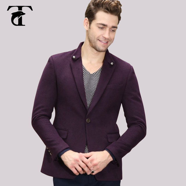 5f258b2ada 2017 newest design suit men collar lapel wool woolen Men Designer Blazer  Masculino Purple blue Stand Collar Mens Elegant Blazers