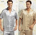 Mulberry silk sleepwear male short sleeve length pants set ye2081