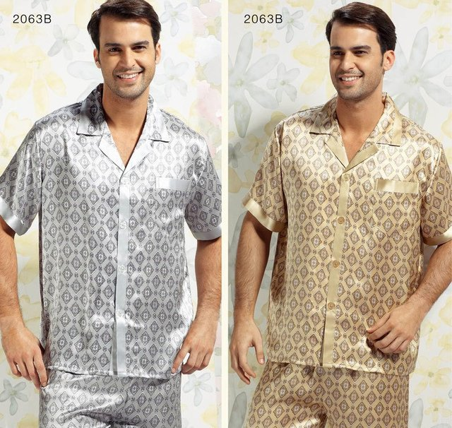 Mulberry silk sleepwear male short sleeve length pants set ye2081