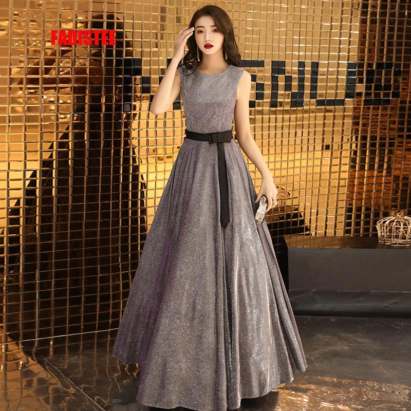 FADISTEE New arrival modern party   dress     evening     dresses   prom A-line sexy scoop neck bling satin black bow lace-up 2019