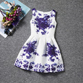Big blue flowers patterns white dresses character sleeveless O-neck elegance girls dress A-line chinese style baby girl clothes