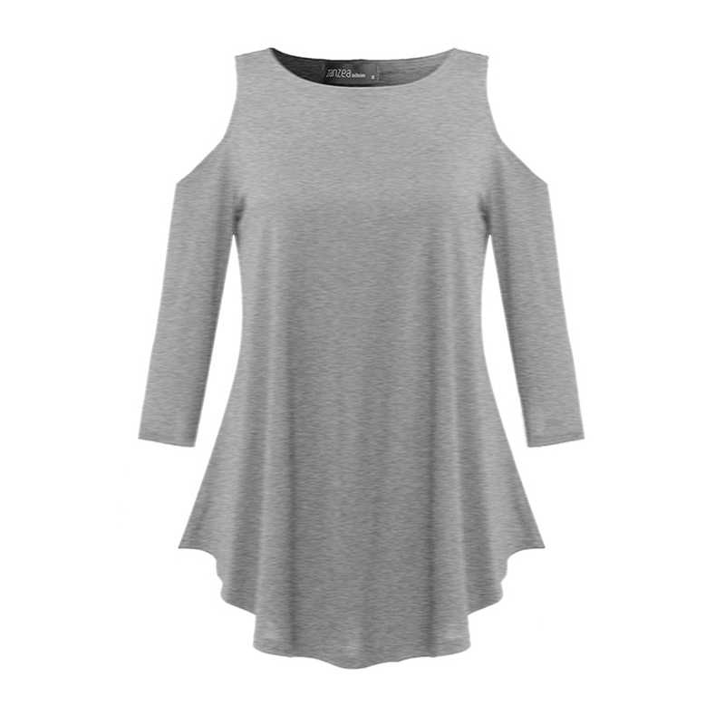 Zanzea Vrouwen 2020 Herfst Sexy Blusas Casual Losse O Hals Half Mouw Lange Blouses Tops Onregelmatige Off Shoulder Solid Shirts top