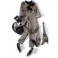Новые блейзеры, простой Для женщин брюки костюмы 2 комплекты из двух предметов длинный тонкий куртка и штаны Высокое качество
