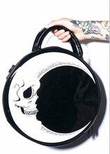 Frauen-dame girl punk dark schädel head donner-printed gothic kreuz körper mond messenger bag runde handtasche harajuku geschenk